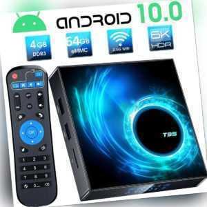 Android 10.0 4G+64G Quad Core 6K HD Smart TV BOX WIFI Netzwerk Media Player T95