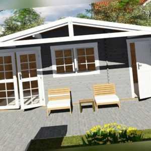 Gartenhaus 2-Raum aus Holz mit Anbau, Blockhaus 6x4M+2.1M, 40mm, Lisa EB40058L