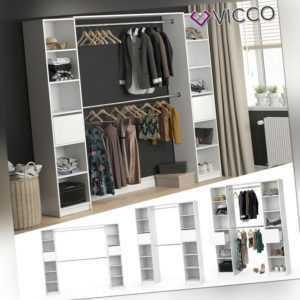 VICCO Kleiderschrank GUEST XL offen begehbar Regal Kleiderständer Schrank weiß