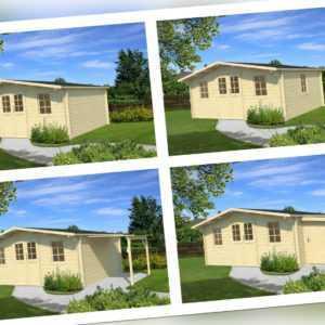 ⭐ 34 mm Gartenhaus + Schleppdach + Anbau Holzhaus Gerätehaus Schuppen Holz Hütte