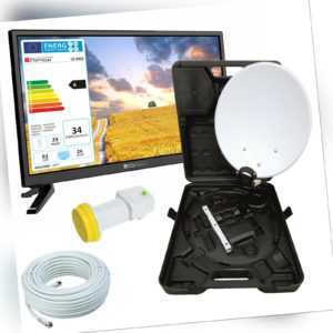 Camping TV Fernseher 24 Zoll SAT DVB-T2 USB + HD Camping SAT Anlage LNB u. Kabe.