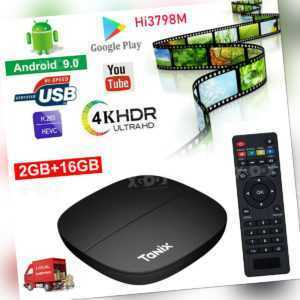 TANIX 4K Smart TV Box Quad Core Android 9.0 2G+16G WIFI HDMI USB 3D Media Player