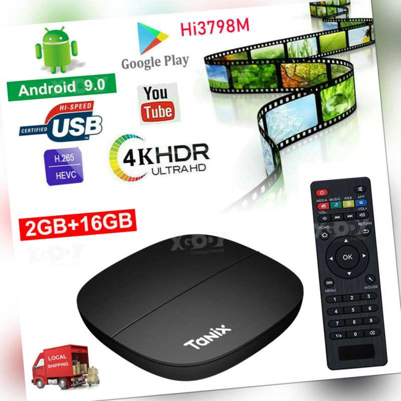 TANIX 4K Smart TV Box Quad Core Android 9.0 2G+16G WIFI HDMI USB 3D Media Player