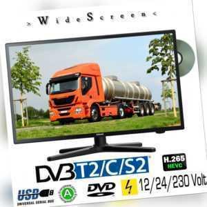 Gelhard GTV2482 LED 24 Zoll Wide Screen TV DVD DVB/S/S2/T2/C 12/24/230 Volt LKW