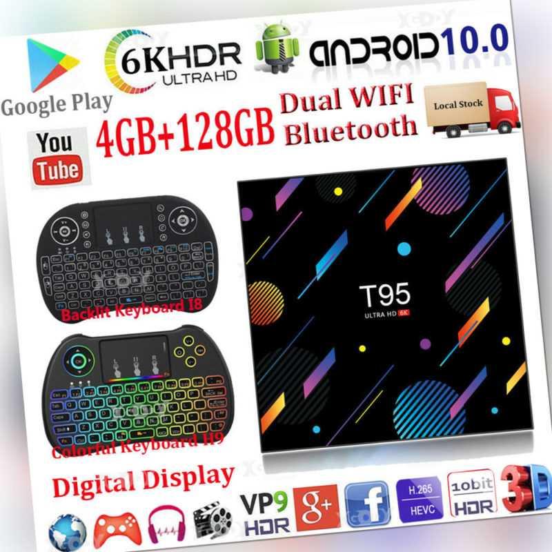 4+128G T95 Android 10.0 OS Tastatur 6K TV BOX 5G WIFI BT5.0 Quac Core UHD Movies