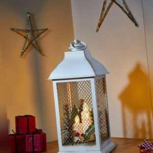 Deko Laterne Weihnachten 3 Modelle innen LED Kerze Timer Funktion batterie 32 cm