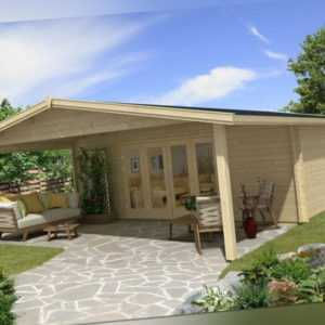 TOPGARDEN Gartenhaus Premium 6x6m Camilla + 3m Vordach, 45mm, Falttür, +Boden