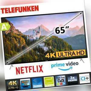 "Telefunken 4K UHD Smart TV Fernseher 65"" Zoll 164 cm Netflix Prime Alexa HDR10"