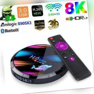 8K H96 MAX X3 Android 9.0 TV Box 4GB 64GB Quad Core Smart Media Player Dual WIFI