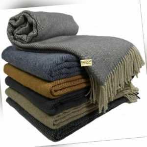 Wolldecke Plaid 100% Schurwolle in versch. Farben und Größen Plaid
