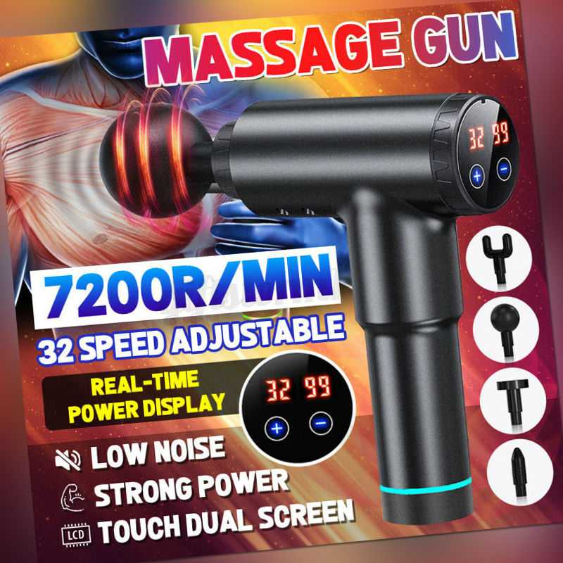 LED Electric Massage Gun Massagepistole Massager Muscle Massagegerät mit 4 Köpfe