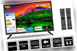 "Elements Fernseher LED Android Smart TV 40"" Zoll Full HD DVB-T2/S2 2x Remote"