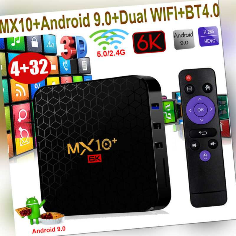 MX10+ 4+32G Android 9.0 OS 6K 3D Dual WIFI BT4.0 HDR10 Smart TV BOX Media Player