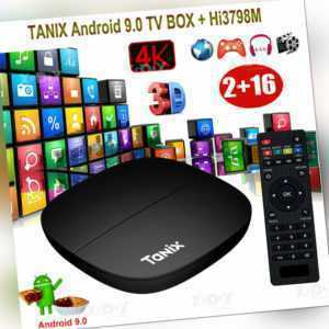 TANIX Android 9.0 Quad Core 4K H.265 Smart TV BOX Media WIFI MINIPC 3D Films DE