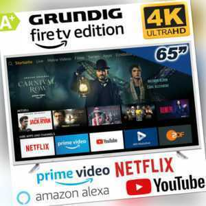 Grundig Smart TV 65 Zoll Fernseher 164cm Netflix Amazon 4K Ultra HD UHD LED Wifi