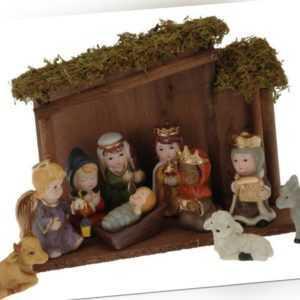 DKB Weihnachtskrippe mit 10 Figuren Holz Moos Deko Christmas festlich