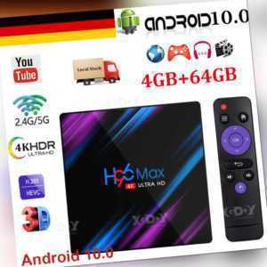 Android 10.0 OS 4+64G H96 MAX 5G WiFi BT TV BOX Quad Core HDR10 USB3.0 RK3318 3D