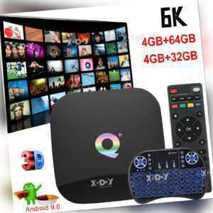 Q Plus 6K Android TV BOX 9.0 4GB+64GB Quad Core Keyboard Media Player USB3.0 3D