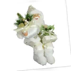 Weihnachtsmann Adrian Kantenhocker 30cm weiß Glitzer sitzend Santa Dekofigur
