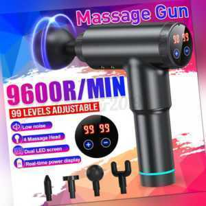Electric LCD Massage Gun Massagepistole Massager Muscle Massagegerät + 4 Köpfe