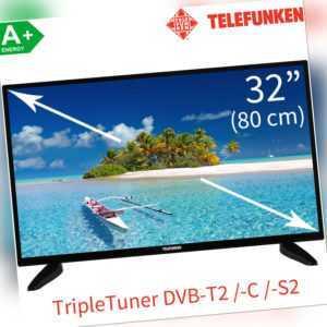 Telefunken 32 Zoll HD LED TV TripleTuner DVB-T2 /-C /-S2 Fernseher 80cm HDMI CI+