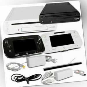 Wii U Spielekonsole 8GB Weiß & 32GB Schwarz Basic/Premium + Zubehörpaket + Spiel
