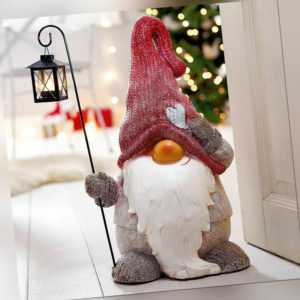 Weihnachtsdekofigur Weihnachtswichtel Teelichthalter mit Laterne XMAS Windlicht