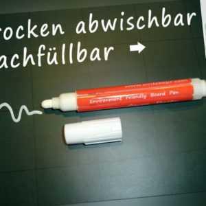 Flüssigkreidestift Weiß NACHFÜLLBAR - Kreide Marker Stift TROCKEN abwischbar