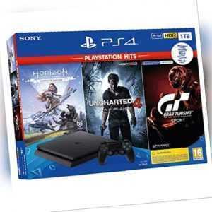 Sony PlayStation 4 Slim inkl. Uncharted 4, Horizon,  GT Sport, 1 TB PS4 NEU