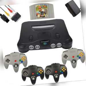 Nintendo 64 / N64 - Konsole + 4 Original Controller + alle Kabel + Mario Kart 64