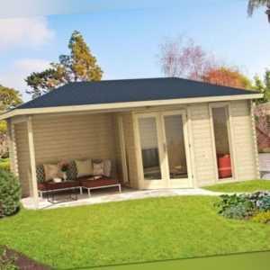 Topangebot Gartenhaus VENEZIA 40 ca. 580 x 300 cm mit überdachter Terrasse TENE
