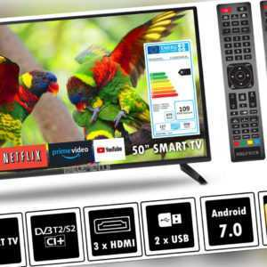 """Elements Fernseher LED Android Smart TV 50"""" Zoll 4K UHD DVB-T2/S2 2x Remote"""
