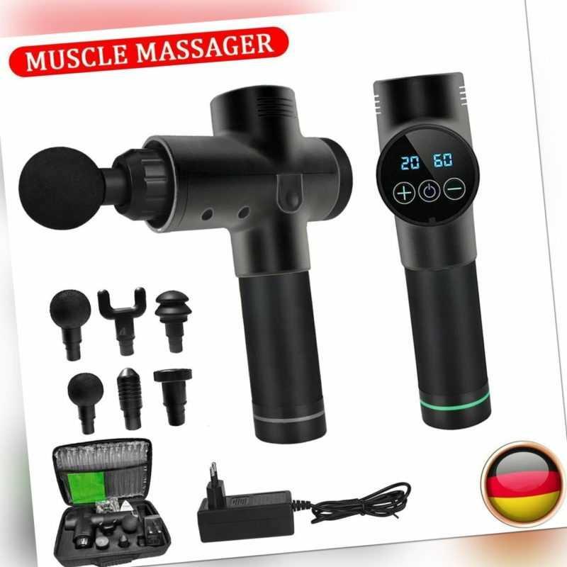 Profi Electric Massage Gun Massagepistole LCD Muscle Massagegerät mit 4/6 Köpfe