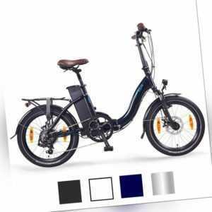 "NCM Paris 20"" E-Faltrad E-Bike Klapprad 36V 15Ah 540Wh, blau, weiß"
