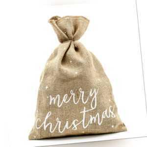 Weihnachtssack Merry Christmas aus Jute 30x42cm Weihnachtszubehör Jutebeutel