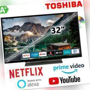 """Toshiba 32"""" Zoll Fernseher TV HD Ready DVB Smart 80cm WLAN DVD Laufwerk NETFLIX"""
