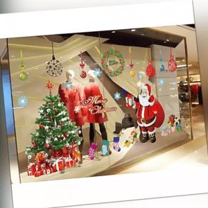 Weihnachten Aufkleber Weihnachtsmann Weihnachtsbaum Xmas Fenster Sticker Deko
