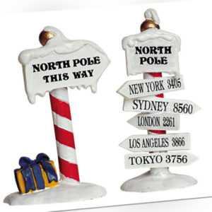 Lemax North Pole Signs (948), Weihnachtsdorf, Weihnachtsdeko, Modellbau, Nordpol