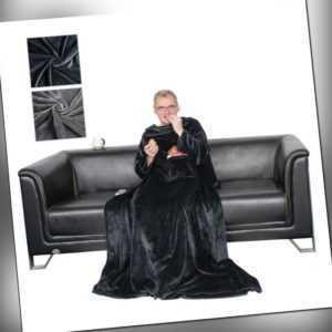 Kuscheldecke mit Ärmeln Wohndecke Fuß- und Handytasche TV-Decke