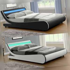 Polsterbett Doppelbett Bettgestell Bett LED Lattenrost Kunstlederbett ArtLife®