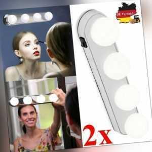 2x Make-up Schminkspiegel Licht Leuchte Badezimmer LED Spiegellampe mit Schalter