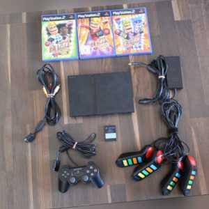 Sony Playstation 2 PS 2 Konsole schwarz +  Controller + Buzzer + Buzz Spiele