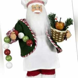 Weihnachtsmann 30cm Figur Koch Santa Nikolaus weiß grün Deko Figur Weihnachten