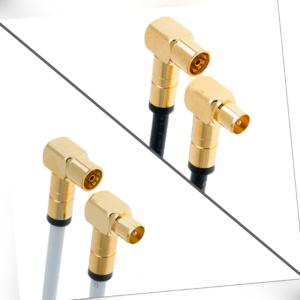 HD Antennenkabel Digital TV Kabel 135db 90° Koax Stecker Buchse VERGOLDET 4K UHD