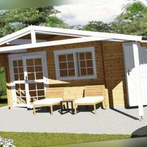 Gartenhaus aus Holz mit Anbau 2-Raum Blockhaus 6x3M + 2.1M, 40mm Lisa EB40057L