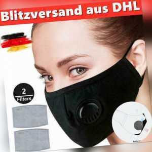 Mundschutz Atemschutzmaske Gesichtsmaske Waschbar Maske mit Filter & Ventil DHL