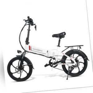 "SAMEBIKE 20""Elektrofahrrad E-Bike Fahrrad E-Faltbarrad Bike outdoor Weiß 48V350W"
