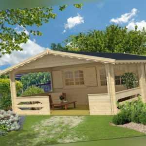 TOPGARDEN Gartenhaus 4x5 m Carola + 3 m Terrasse / 45mm PREMIUM mit Boden + ISO