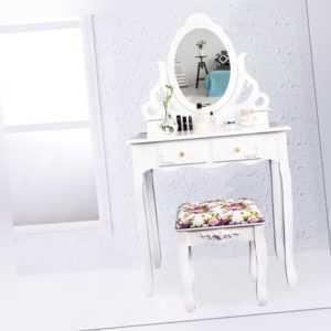 Schminktisch Frisiertisch Kosmetiktisch Kommode Spiegel weiß modern Makeup Table