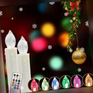 30er Kabellose LED Weihnachtskerzen Christbaum kerzen Lichterkette Fernbedienung